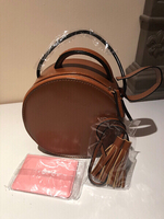 brown round handbag - small
