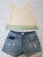 Used Ladies lace crop top and mini shorts in Dubai, UAE