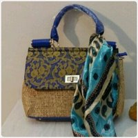 HANDBAG with blue scarf Spanish brand