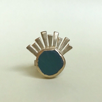 Used Gold Tone Sun Ray Ring with Green Stone in Dubai, UAE