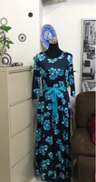 Used Blue Maxi Dress with Belt/ 2XL  in Dubai, UAE