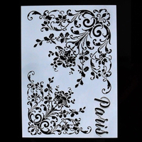 NEW A4 size Flower stencil for design