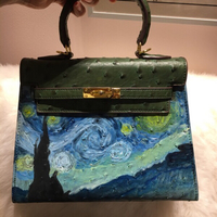 Used Hand Painted Faux Leather Bag  in Dubai, UAE