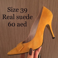 Used Real Suede Yellow Bow Heels in Dubai, UAE