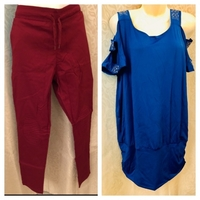 Open shoulder top and stretch pants