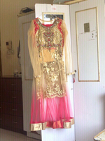 Used New designer cream & pink dress💥 read👇 in Dubai, UAE