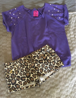 Purple top & leopard print shorts