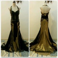 Unique black golden long dress