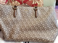 Used DKNY Beige Monogram Printed Bag in Dubai, UAE