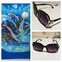 Used Beach Yas Waterworld towel & sun glasses in Dubai, UAE