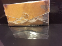 New Silver clutch with Tory Burch logo