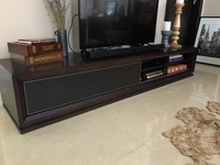 Used Leather and wood TV stand including TV in Dubai, UAE