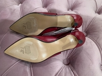 Used Mango Red Kitten Heel Shoes Leather - 38 in Dubai, UAE