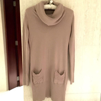 Cashmere wool turtle neck winter dress