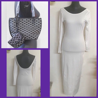 Used White Body Hugger Dress & Small Bag in Dubai, UAE
