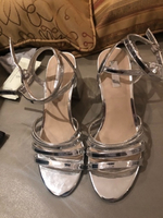 Used Silver strappy sandals thick heel. 39 in Dubai, UAE