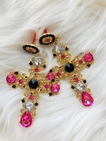 Used Inspired D&G Cross Earrings Pink in Dubai, UAE