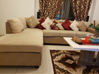 Used Beige L Shaped Sofa with coffee table in Dubai, UAE