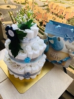 Used 3 tier blue diaper cake in Dubai, UAE