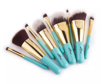 Used 9 luxury blue and golden makeup brushes  in Dubai, UAE