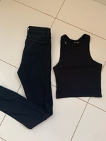 Used Jeans and crop top in Dubai, UAE