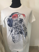White t shirt with falcon with headphone