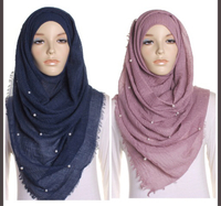 Brandnew crinkle cotton hijab with pearl