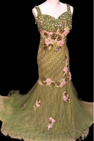 Used Green and pink floral evening dress in Dubai, UAE