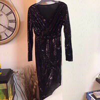 V -neck shiny black dress  size small