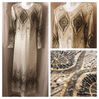 LONG BEIGE/GOLD DRESS new