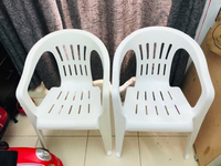 2 strong cosmoplast plastic chairs