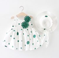 Used Flower Decor Polka Dots Dress with Hat in Dubai, UAE