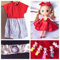 Used New red dress❤️doll,hair band & clips👧 in Dubai, UAE