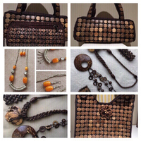 3 Coconut Shell Handbags and necklaces