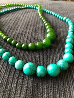 2 necklaces jade/turquoise stone