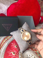 Used New GUESS🐆leather strap goldtone Watch  in Dubai, UAE