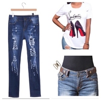 Used Ripped jeans M+belt+fashion T-shirt S in Dubai, UAE