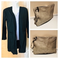 Used Black cardigan size M plus grey clutch  in Dubai, UAE