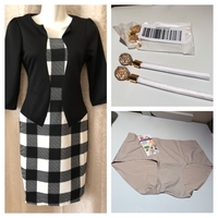 Used Slim look dress S + earrings + brief in Dubai, UAE