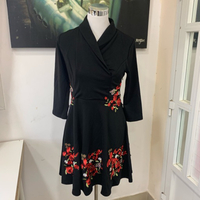 Used Black Embroidered Mini Dress Size M NEW in Dubai, UAE
