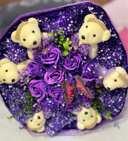 Used Artificial Bouquet with mini bears in Dubai, UAE