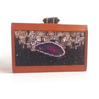 Semi-precious Stones Wood Clutch
