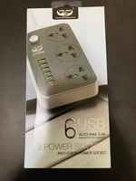 6 usb port power socket with 3 UK plug