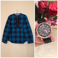 NEW Ladies' Plaid Shirt LARGE + Watch