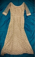 Used Silver Embroidered Fabric Evening Gown in Dubai, UAE