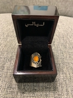 Used Pure 925 silver ring with amber stone  in Dubai, UAE