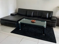 Used Leather sofa L shape + table + carpet  in Dubai, UAE