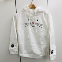 White Sweater with hoodie size medium