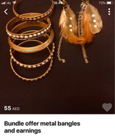 5 metal bangles + feather earings