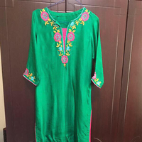 Beautiful Emerald Green Shirt With Hand Embriodery  On It. Size Small To Medium.